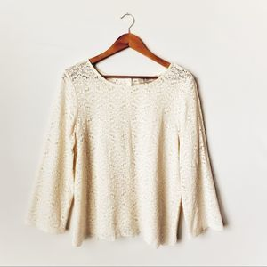 Loft Lace Cream White 3/4 Sleeve Top Large